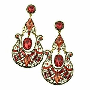 Red Brinco Grande Epic Holiday Gift Sale Big Chandelier Earrings Fashion Jewelry