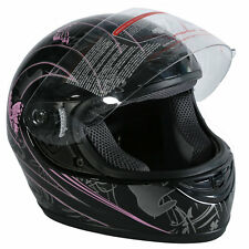 DOT Adult Black Pink Butterfly Motorcross Motorcycle Street Full Face Helmet XXL