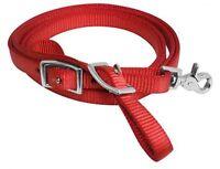 "Showman RED 8' x 5/8"" Premium Nylon Contest Reins W/ Scissor Snap! HORSE TACK!"
