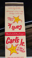 Rare Vintage Matchbook B1 Anaheim California Carl's Jr Star Out Of This World