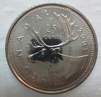 2001 CANADA 25¢ NO P BRILLIANT UNCIRCULATED QUARTER COIN