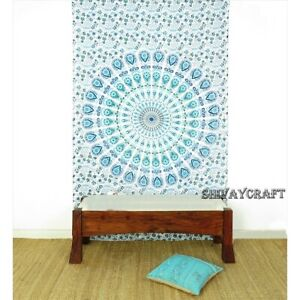 Mandala Tapestry Feather Print White Base Blue Floral Twin Small Wall Hanging
