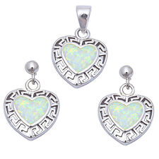 White Opal Heart shaped .925 Sterling Silver Earring & pendant jewelry set
