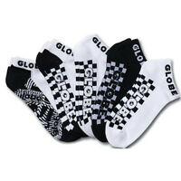Globe Socks 5 Pack Strobe Ankle Black White Size 7-11 Skateboard Sox