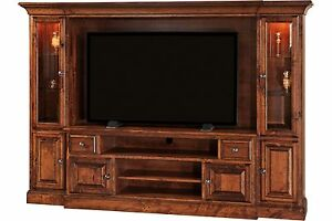 Amish Entertainment Center Wall Unit Enclosure Kincade Solid Wood Wall Unit