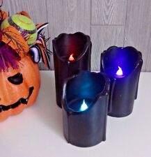 NEW Halloween Set of 3 Black Dripping LED Color Changing  Timer Pillar Candles