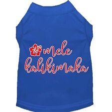 Mele Kalikimaka Screen Print Dog Shirt Blue