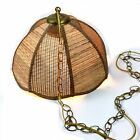 Vtg Boho Natural Woven Rattan Hanging Basket Pendant Lamp MCM Brass Chain