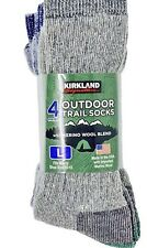 Kirkland Signature Outdoor Hiking Trail Socks  Merino Wool 4 Pairs Large