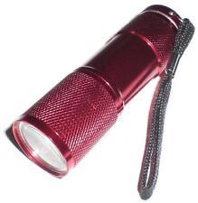 LED Foco Linterna Eléctrica MIT 9 blanco LEDs Aluminio Rojo / para 3x AAA
