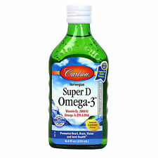 Carlson Super D + Omega-3: Norwegian Cod Liver Oil 250 ml - Great Lemon Taste!