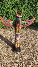 More details for superb totem pole 100 cm hand carved wooden painted native american man cave 1m