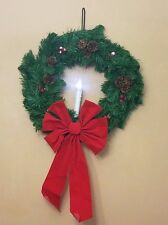 "24"" INDOOR/OUTDOOR CORD-FREE LED CANDLE WINDOW WREATH BY PLOW & HEARTH"