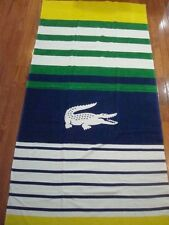 LACOSTE BLUE, WHIE, GREEN & YELLOW BEACH TOWEL 36X72
