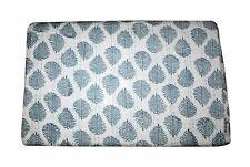 Grey Floral Hand Block Print Cotton Bedspread Kantha Quilt, Blanket Throw King