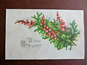 Victorian Greetings Card A HAPPY NEW YEAR Lucky Pink Heather Antique Chromo