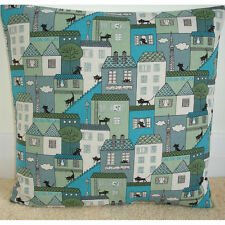 """18"""" Cushion Cover Black Cats Turquoise Green and Grey Townhouses 18x18"""