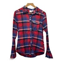 BP Nordstrom - Red Blue Plaid Cotton Button Up Shirt - Size Small