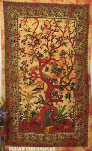Graceful Design Floral Tree  Bedsheet Twin Tapestry Design Bedroom Art Tie-Dye