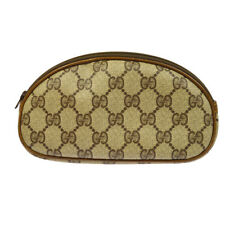 Auth GUCCI GG Pattern Clutch Hand Bag Pouch Beige PVC Leather Vintage A41212f