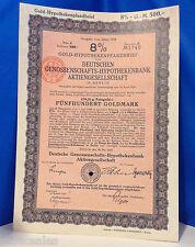 1924 German Gold Bond 500 Goldmark @ 8% No. 1740 (Cancelled)
