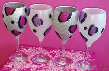 Brillo púrpura plata leopardo rosa Copa De Vino presente Boda Cumpleaños Navidad