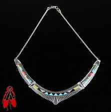 Vintage Zuni choker pendant necklace turquoise shell inlay sterling silver 92.5