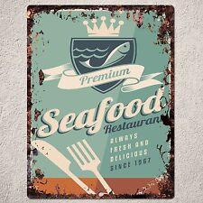PP0150 Vintage SEAFOOD Sign Home Shop Cafe Restaurant Interior Wall Decor Gift