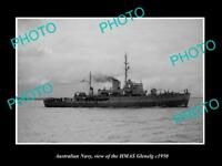 OLD LARGE HISTORIC PHOTO OF AUSTRALIAN NAVY SHIP HMAS GLENELG c1950