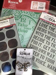 Tim Holtz Assemblage and Diana Wakley stencil lot