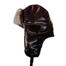 Leather Winter Trapper Aviator Trooper Earflap Warm Ski Cap Hat For Men Women