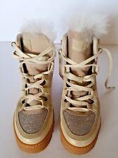NEW $1945 Brunello Cucinelli Metallic Suede Monili Fur Lined Hiking Boots 40/10