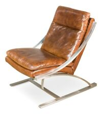 "24"" Leather Chair Top Grain Leather Vintage Brown Brushed Stainless Steel Frame"