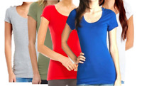 Women SCOOP NECK Short Sleeve Cotton T-shirt Soft Stretch Long Tee Plus Size