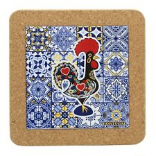 Traditional Portuguese Rooster Ceramic Tile Trivet With Cork #0273