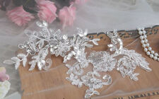 Bridal Sequin Lace Applique Corded Wedding Motif Ivory Lace Applique Trim 1 Pair