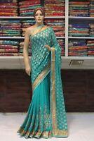 Embroidered Work Bollywood Ethnic Designer Saree Indian Sari Bridal Party Dress