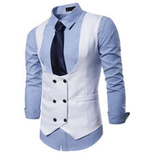 New Fashion Mens Vests Buttons Double Breasted Slim Fit Formal Waistcoats FK3049