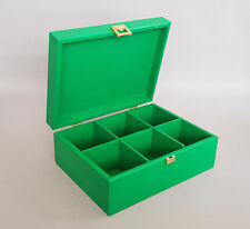 Green Wooden Box Tea Bag 6 Compartment Chest Removable Dividers Storage Twinings