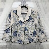 VINTAGE Anage M Medium White Blue Floral Beads Button Down Jacket 100% Silk D5