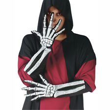 Pair of Skeleton Hands with Arms Adult Size Elbow Length Costume Gloves