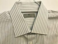 CANALI GRAY-WHITE 100% COTTON DRESS SHIRT MINT CONDITION SIZE 17 (EU 43)