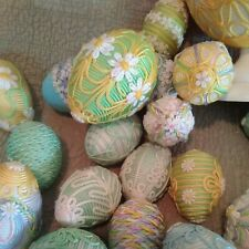 Huge Lot Vintage ~ Satin wrapped Easter Eggs with appliqued flowers ~ Handmade