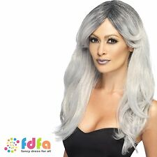GREY GHOST GLAMOUR CORPSE BRIDE WITCH HALLOWEEN WIG - womens ladies fancy dress