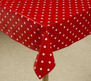 POLKA DOT PVC VINYL TABLE COVER FABRIC - WATERPROOF - INDOOR / OUTDOOR USE - NEW