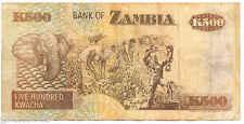 ZAMBIA 500 KWACHA MONUMENTO RISCATTO SCHIAVI  BANCONOTA 1992