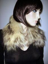 COLLO PELLICCIA VOLPE Pelo Lungo bianco panna Fox fur collar sciarpa D0065