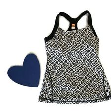 Lucy Power Black And White Geometric Heart Athletic Built In Bra Top Small Yoga