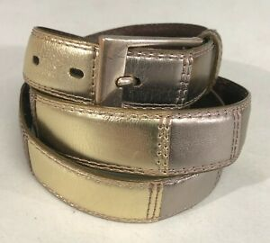 Womens Fossil Shiny Gold Silver Brown Leather XL Belt