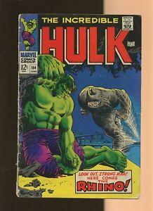 "Incredible Hulk 104 GD 1.8 *1* ""Death"" of Rhino! Gary Friedrich & Marie Severin!"